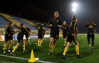 20191108 - Zapresic , BELGIUM : Belgian players with Justine Vanhaevermaet pictured during warming up of the female soccer game between the womensoccer teams of  Croatia and the Belgian Red Flames , the third women football game for Belgium in the qualification for the European Championship round in group H for England 2021, friday 8 th october 2019 at the NK Inter Zapresic stadium near Zagreb , Croatia .  PHOTO SPORTPIX.BE | DAVID CATRY