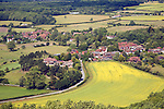 Nucleated spring line village of Poynings set in the clay farmland of the Weald, West Sussex, England