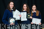Gabriella Ward, Sophie Daly and Celina O'Sullivan pictured with their Special Academic and Lourdes awards at the Pobailscoil Inbhear Scéine Awards.