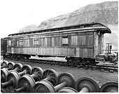 D&amp;RGW bunk car #0270 with passenger trucks.<br /> D&amp;RGW  Durango, CO  Taken by Payne, Andy M. - 5/7/1973