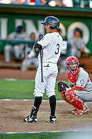 Pioneer League All-Star Jose Gomez (3) of the Grand Junction Rockies at bat against the Northwest League All-Stars at the 2nd Annual Northwest League-Pioneer League All-Star Game at Lindquist Field on August 2, 2016 in Ogden, Utah. The Northwest League defeated the Pioneer League 11-5. (Stephen Smith/Four Seam Images)