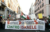 """Manifestazione nazionale a Roma, 17 gennaio 2009, di solidarieta' col popolo palestinese e contro i raid israeliani nella striscia di Gaza..Demonstrators hold a banner reading """"Boycott, disinvestments, sanctions against Israel"""" durina a national march in Rome, 17 january 2009, in solidarity with Palestinians and against Israel's continued incursion into Gaza strip..UPDATE IMAGES PRESS/Riccardo De Luca"""
