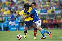 actionn photo during the match Brazil vs Ecuador, Corresponding Group -B- America Cup Centenary 2016, at Rose Bowl Stadium<br /> <br /> Foto de accion durante el partido Brasil vs Ecuador, Correspondiante al Grupo -B-  de la Copa America Centenario USA 2016 en el Estadio Rose Bowl, en la foto: (i-d) Juan Carlos Paredes de Ecuador y  Philippe Coutinho de Brasil<br /> <br /> <br /> 04/06/2016/MEXSPORT/Victor Posadas.