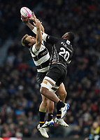 16th November 2019; Twickenham, London, England; International Rugby, Barbarians v Fiji; Andre Esterhuizen of Barbarians and Mesulame Kunavula of Fiji both leap to grab the kicked forward ball