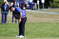 Kiradech Aphibarnrat (THA) putts on the 8th green during Saturday's Round 3 of the 2018 Omega European Masters, held at the Golf Club Crans-Sur-Sierre, Crans Montana, Switzerland. 8th September 2018.<br /> Picture: Eoin Clarke | Golffile<br /> <br /> <br /> All photos usage must carry mandatory copyright credit (&copy; Golffile | Eoin Clarke)