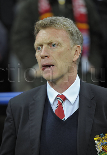 09.04.2014. Munich, Germany, Allianz Arena. UEFA Champions league quarterfinal, second leg. Bayern Munich versus Manchester United. Trainer David Moyes (Manchester United) looks pensive