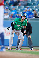 Norfolk Tides Austin Wynns (19) leads off first base during an International League game against the Buffalo Bisons on June 22, 2019 at Sahlen Field in Buffalo, New York.  Buffalo defeated Norfolk 3-0.  (Mike Janes/Four Seam Images)
