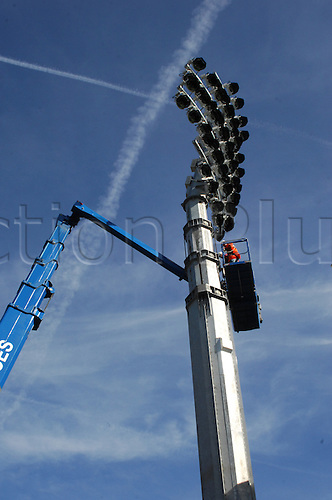 06.04.2011 Kent CCC Media Day from the St Lawrence Ground Canterbury. The erection of brand new floodlights