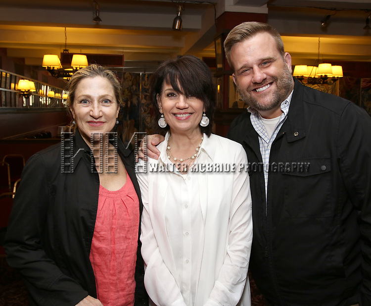 Edie Falco and Beth Leavel and Stephen Wallem attend the The Robert Whitehead Award presented to Mike Isaacson at Sardi's on May 10, 2017 in New York City.