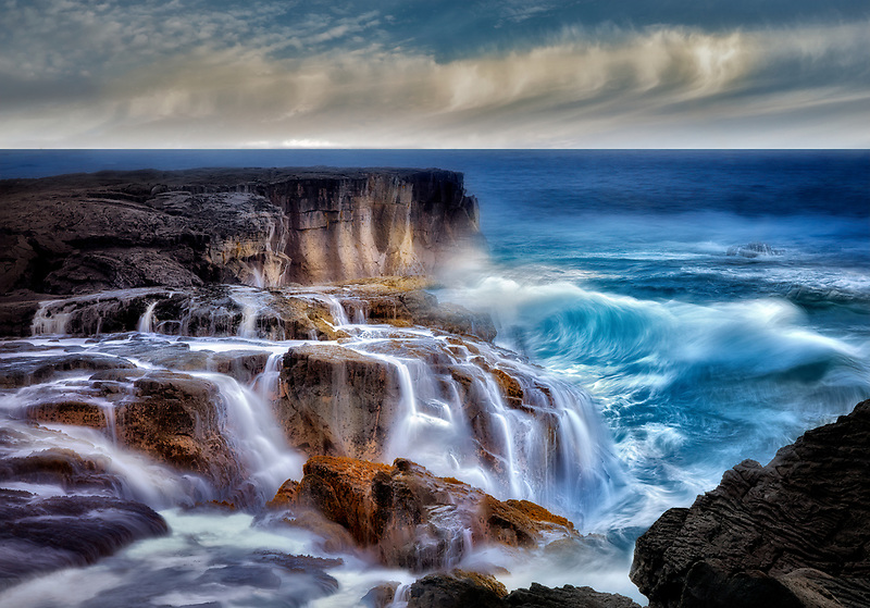 Waves off coast in Puna district Hawaii, The Big island
