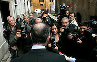 Il senatore del Pdl Nicola Di Girolamo attorniato dai giornalisti in strada al termine di una conferenza stampa a Roma, 24 febbraio 2010, all'indomani della richiesta d'arresto nei suoi confronti nell'ambito di una inchiesta sul riciclaggio di capitali della 'ndrangheta, che avrebbe anche favorito la sua elezione manomettendo le schede bianche per l'elezione dei candidati al Senato votati dagli italiani residenti in Germania..People of Freedom center-right party's senator Nicola Di Girolamo surrounded by reporters after giving a press conference in Rome, 24 february 2010. Italian anti-Mafia authorities issued arrest for Di Girolamo, suspected of helping cover up the money laundering, and being elected with falsified voter ballots of Italians living in the German city of Stuttgart, arranged by the Calabrian mafia, known as 'ndrangheta..UPDATE IMAGES PRESS/Riccardo De Luca