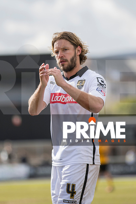 Alan Smith of Notts County claps the fans at full time of the Sky Bet League 2 match between Newport County and Notts County at Rodney Parade, Newport, Wales on 30 April 2016. Photo by Mark  Hawkins / PRiME Media Images.