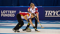 Glasgow. SCOTLAND.   &quot;Sweeping&quot;, as an alignment point,  &quot;Round Robin&quot; Game. Le Gruy&egrave;re European Curling Championships. 2016 Venue, Braehead  Scotland<br /> Tuesday  22/11/2016<br /> <br /> [Mandatory Credit; Peter Spurrier/Intersport-images]