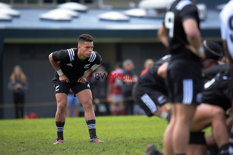 Ciarahn Matoe waits for a scrum to set during the match between  New Zealand Schools and Fiji Schools at Mount Albert Grammar School in Auckland, New Zealand on Friday, 30 September 2016. Photo: Dave Lintott / lintottphoto.co.nz