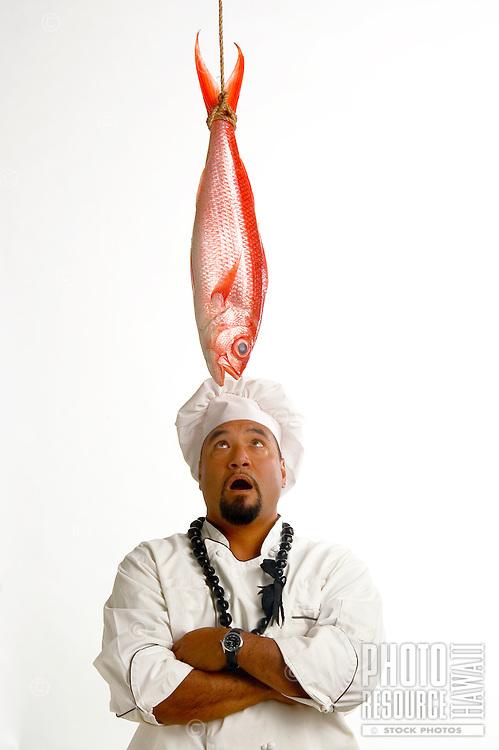 Chef With Large Opakapaka Fish