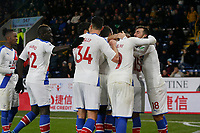 30th November 2019; Turf Moor, Burnley, Lanchashire, England; English Premier League Football, Burnley versus Crystal Palace; Crystal Palace celeberate after Jeffrey Schlupp scores to put them 2-0 ahead after 78 minutes - Strictly Editorial Use Only. No use with unauthorized audio, video, data, fixture lists, club/league logos or 'live' services. Online in-match use limited to 120 images, no video emulation. No use in betting, games or single club/league/player publications
