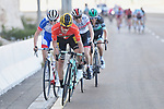 Race leader Red Jersey Primoz Roglic (SLO) Team Jumbo-Visma on the final climb followed by David Gaudu (FRA) Groupama-FDJ and Dan Martin (IRL) UAE Team Emirates during Stage 3 of the 2019 UAE Tour, running 179km form Al Ain to Jebel Hafeet, Abu Dhabi, United Arab Emirates. 26th February 2019.<br /> Picture: LaPresse/Fabio Ferrari | Cyclefile<br /> <br /> <br /> All photos usage must carry mandatory copyright credit (© Cyclefile | LaPresse/Fabio Ferrari)