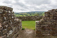 Cumbria, England, UK.  View from within  Banks East Turret, Looking South, Hadrian's Wall.  Low Row Village in the Distance.