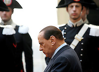 Il Presidente del Consiglio Silvio Berlusconi si prepara ad accogliere il presidente del Pakistan a Palazzo Chigi, Roma, 30 settembre 2009..Italian Premier Silvio Berlusconi prepares to welcome Pakistani President at Rome's Chigi Palace, 30 september 2009..UPDATE IMAGES PRESS/Riccardo De Luca