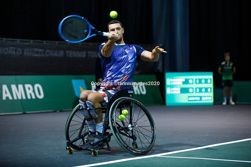 Rotterdam, The Netherlands, 11 Februari 2020, ABNAMRO World Tennis Tournament, Ahoy, <br /> Wheelchair tennis: Joachim Gerard (BEL).<br /> Photo: www.tennisimages.com
