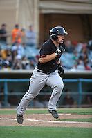 Joe DeCarlo (10) of the Bakersfield Blaze runs to first base during a game against the Lancaster JetHawks at The Hanger on June 18, 2016 in Lancaster, California. Bakersfield defeated Lancaster, 10-7. (Larry Goren/Four Seam Images)