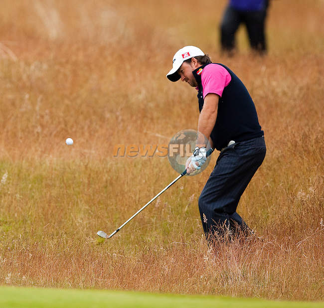 Graeme McDowell chips to the 18th green during the final round  of the Barclays Scottish Open, played over the links at Castle Stuart, Inverness, Scotland from 7th to 10th July 2011:  Picture Stuart Adams /www.golffile.ie 10th July 2011