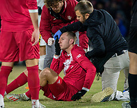 COLLEGE PARK, MD - NOVEMBER 15: A.J. Palazzolo #4 of Indiana suffers a head injury during a game between Indiana University and University of Maryland at Ludwig Field on November 15, 2019 in College Park, Maryland.