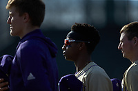 Bryson Parks (6) of the Western Carolina Catamounts stands for the National Anthem prior to the game against the Saint Joseph's Hawks at TicketReturn.com Field at Pelicans Ballpark on February 23, 2020 in Myrtle Beach, South Carolina. The Hawks defeated the Catamounts 9-2. (Brian Westerholt/Four Seam Images)