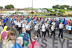 Killorglin and District Pipe band crosses the bridge over the River Laune at the Puck Fair parade on Sunday
