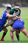 Peter White is tackled by Karl Ropati and Joseph Ikenasio. Counties Manukau Premier Club Rugby game between Ardmore Marist and Manurewa, played at Bruce Pulman Park Papakura on Saturday May 12th 2018. Ardmore Marist won the game 20 - 3 after leading 17 - 3 at halftime.<br /> Ardmore Marist - Katetistoti Nginingini try, penalty try, Latiume Fosita conversion, Latiume Fosita 2 penalties.<br /> Manurewa - Logan Fonoti penalty.<br /> Photo by Richard Spranger.