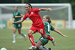 20 June 2009: Elise Weber (12) of Saint Louis Athletica attempts a slide tackle on Lisa De Vanna (17) of the Washington Freedom.  Saint Louis Athletica were defeated by the visiting Washington Freedom  0-1 in a regular season Women's Professional Soccer game at AB Soccer Park, in Fenton, MO.