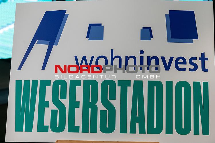 14.06.2019, Wohninvest Weserstadion, Bremen, GER, 1.FBL, Werder Bremen Partnerschaft mit Wohninvest, <br /> <br /> Werder Bremen hat die Namensrecht für 10 Jahre an die Wohninvest in Stuttgart verkauft. Das Stadiuon wird künftig wohninvest Weserstadion heißen<br /> im Bild<br /> <br /> Das neue Logo<br /> <br /> <br /> Foto © nordphoto / Kokenge