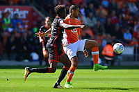 Blackpool's Colin Daniel competes with Milton Keynes Dons' Gboly Ariyibi<br /> <br /> Photographer Richard Martin-Roberts/CameraSport<br /> <br /> The EFL Sky Bet League One - Blackpool v Milton Keynes Dons - Saturday August 12th 2017 - Bloomfield Road - Blackpool<br /> <br /> World Copyright &copy; 2017 CameraSport. All rights reserved. 43 Linden Ave. Countesthorpe. Leicester. England. LE8 5PG - Tel: +44 (0) 116 277 4147 - admin@camerasport.com - www.camerasport.com
