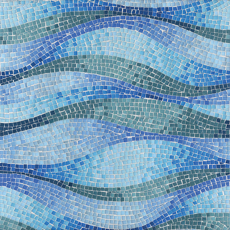 Brighton Wave, a hand-cut mosaic, shown in jewel glass.