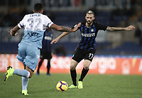 Calcio, Serie A: SS Lazio vs Internazionale Milano, Olympic stadium, Rome, October 29, 2018.<br /> Inter's Marcelo Brozovic  (r) in action with Lazio's Danilo Cataldi (l) during the Italian Serie A football match between SS Lazio and Inter Milan at Rome's Olympic stadium, on October 29, 2018.<br /> UPDATE IMAGES PRESS/Isabella Bonotto