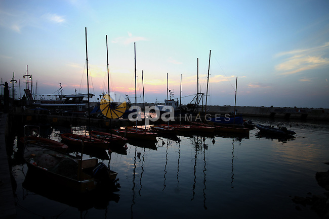 A picture taken on January 15, 2014 shows the boats at the Jaffa seaport. Photo by Saeed Qaq