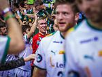 Rene VILLADSEN (#12 SC DHfK Leipzig) bei den Fans beim Spiel in der Handball Bundesliga, SG BBM Bietigheim - SC DHfK Leipzig.<br /> <br /> Foto &copy; PIX-Sportfotos *** Foto ist honorarpflichtig! *** Auf Anfrage in hoeherer Qualitaet/Aufloesung. Belegexemplar erbeten. Veroeffentlichung ausschliesslich fuer journalistisch-publizistische Zwecke. For editorial use only.