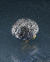 Artificial brain connected to circuit board