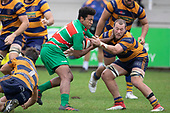 Apensia Sailo is tackled by Tamati Fromm. Counties Manukau Premier Club Rugby game between Waiuku and Patumahoe, played at Waiuku on Saturday April 28th, 2018. Patumahoe won the game 18 - 12 after trailing 10 - 12 at halftime. <br /> Waiuku Brian James Contracting 12 - Apec Togafau, Nathan Millar tries, Christian Walker conversion.<br /> Patumahoe Troydon Patumahoe Hotel 18 - Vernon Comley, Riley Hohepa tries, Riley Hohepa conversion, Riley Hohepa 2 penalties.<br /> Photo by Richard Spranger
