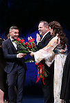 Gary Barlow, Harvey Weinstein and Laura Michelle Kelly during the Broadway Opening Night Performance curtain call for  'Finding Neverland'  at The Lunt-Fontanne  Theatre on April 15, 2015 in New York City.