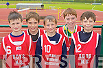 Castleisland Boys NS athletes at the County National Schools athletics finals in Castleisland On Saturday l-r: Conor Mitchell, Padraig O'Connell, Shane Fagin, Shane Lynch and Paul Walsh