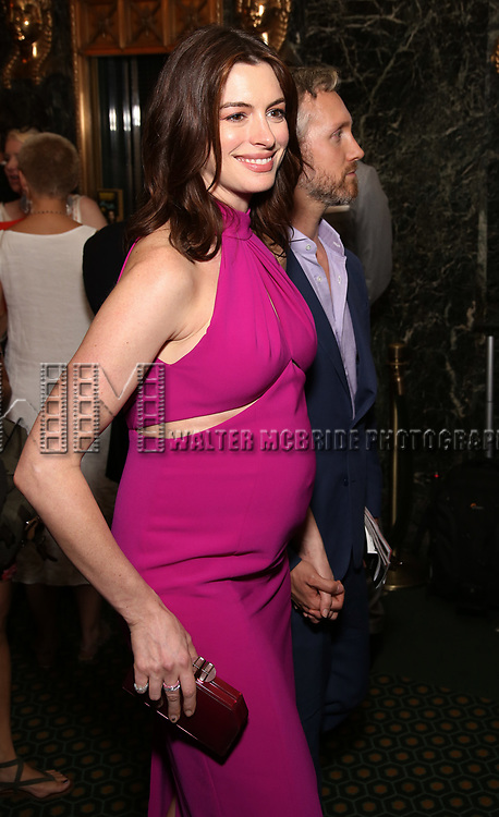 """Anne Hathaway and Adam Shulman attends the Broadway Opening Night performance of """"Sea Wall / A Life"""" at the Hudson Theatre on August 08, 2019 in New York City."""