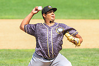 Quad Cities River Bandits pitcher Abdiel Saldana (13) during a Midwest League game against the Beloit Snappers on June 18, 2017 at Pohlman Field in Beloit, Wisconsin.  Quad Cities defeated Beloit 5-3. (Brad Krause/Krause Sports Photography)