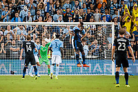 Kansas City, KS - Wednesday August 9, 2017: Graham Zusi, Tim Melia, Matt Besler, Fatai Alashe during a Lamar Hunt U.S. Open Cup Semifinal match between Sporting Kansas City and the San Jose Earthquakes at Children's Mercy Park.