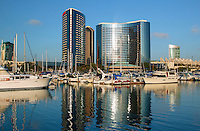 Marrott Hotel from the Embarcadero Marina park, San Diego, California