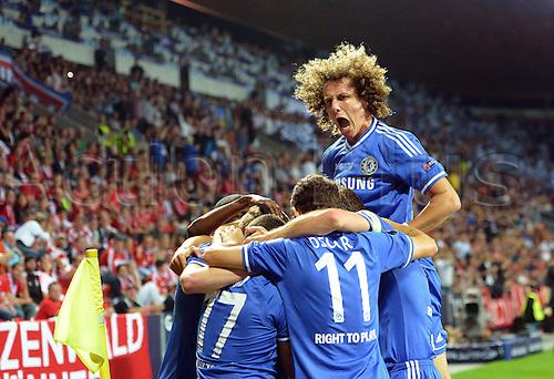 30.08.2013. Prague, Czech Republic.   UEFA Supercup 2013 FC Bayern Munich versus Chelsea   Fernando Torres Chelsea goal celebration
