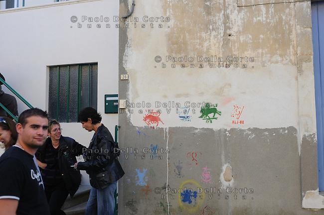 Francia-Camargue. Mejanes con i simboli di toro sui muri delle case.