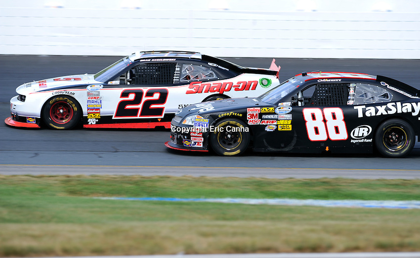 July 14 2012 Nationwide Series driver Cole Whitt (88) challenges Brad Keselowski (22) in the F.W. Webb 200 at the New Hampshire Motor Speedway in Loudon New Hampshire. Eric Canha/CSM