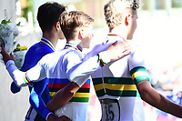 Picture by Simon Wilkinson/SWpix.com - 24/09/2018 - Cycling 2018 Road Cycling World Championships Innsbruck-Tiriol, Austria - Junior Men's Individual Time Trial Podium - Lucas Plapp of Australia, Andrea Piccolo of Italy and Remco Evenepoel of Belgium.