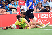 January 27th, Hamilton, New Zealand;  Australia's Simon Kennewell scores a try during the Day 2 of the HSBC World Rugby Sevens Series 2019, FMG Stadium Waikato,Hamilton, Sunday 27th January 2019.